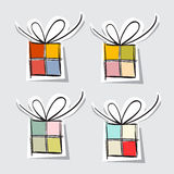 Paper Gift Box Set. On Grey Background Stock Image