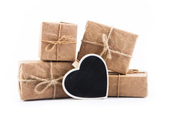 Paper gift box on white background Stock Image