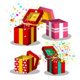 Paper Gift Boxes Set. Open Present Box Symbols royalty free stock photo