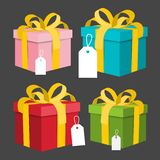 Paper Gift Boxes Set. Vector Present Box royalty free illustration