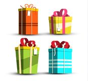 Paper Gift Boxes Set - Present Box Icons Isolated on White Background royalty free illustration