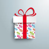 Paper Gift Percents. Paper gift with colored percents on the grey background Stock Illustration