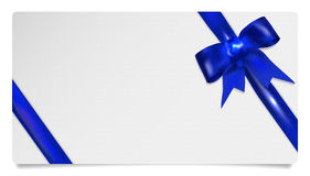 Paper gift voucher with blue bow. Isolated on white. Vector illustration Stock Photography