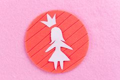 paper girl on pink background stock photo