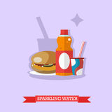 Paper glass and bottle of sparkling water with burger, vector Stock Image