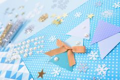 Paper and glitter for Christmas craft making Stock Images