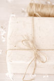 Paper goft box, tied by jute string Royalty Free Stock Photos