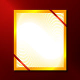 Paper with gold frame and red ribbons Royalty Free Stock Photos