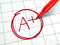 A paper is graded A Plus with red pen Royalty Free Stock Image