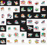 Paper graphic banners set, mega collection Stock Photography