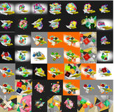 Paper graphic banners set, mega collection Stock Image