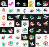 Paper graphic banners set, mega collection Royalty Free Stock Photography