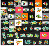 Paper graphic banners set, mega collection Stock Photo