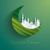 Paper graphic of crescent moon. The holy month of Muslim communities. Stock Photography