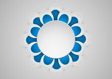 Paper graphic of flower geometric art. Banner with round frame. Vector illustration Stock Image