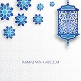 Paper graphic of islamic lantern and stars. stock illustration