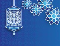 Paper graphic of islamic lantern and stars. Islamic decoration. Ramadan Kareem - glorious month of Muslim year. Modern 3d paper cut concept royalty free illustration