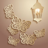 Paper graphics Illustration of lace butterflies flying to the light of a lantern. Stock Photography