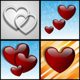 Paper gray and glass hearts Royalty Free Stock Image