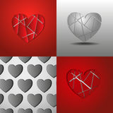 Paper gray and red hearts Royalty Free Stock Images