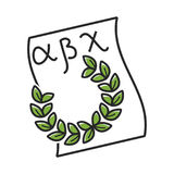 Paper with Greek alphabet and green laurel wreath. Isolated flat vector illustration on white background. Ancient paper with letters and symbolic herbal object Royalty Free Stock Photos