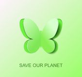 Paper green butterfly, a symbol of clean environment. Stock Photos