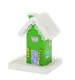 The paper green Christmas houses covered snow Stock Images