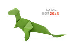 Paper green dinosaur Royalty Free Stock Image