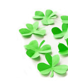 Paper green leaves of clover  St. Patrick's Day Royalty Free Stock Image