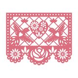Paper greeting card with cut out flowers, Doves and heart. Papel Picado. vector illustration