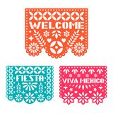 Paper greeting card with cut out flowers, shapes and text. Papel Picado vector template . Paper greeting card with cut out flowers, shapes and text. Papel Vector Illustration