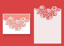 Laser cut envelope template for invitation wedding card. Paper greeting card with lace border. Paper greeting card with lace border, pattern of roses. Cut out vector illustration