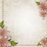 Paper grunge background with pink lily Stock Images