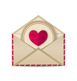 Paper grunge heart in open old envelope Royalty Free Stock Photography