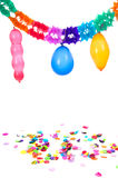 Paper guirlandes and confetti stock image