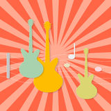 Paper Guitars on Retro Background Stock Photos