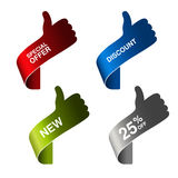Paper hand gesture - special offer, discount, new, 25 off. Illustration Royalty Free Stock Image