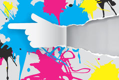 Paper hand with print colors. Stock Image