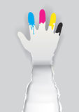 Paper hand with print colors Stock Photo