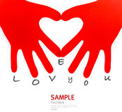 Paper hand sign heart shape symbol Royalty Free Stock Photos