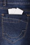 Paper handkerchief in the jeans pocket Royalty Free Stock Photos
