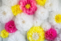 Paper handmade flowers  on white wood background Stock Photography