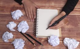 Paper hands ideas and inspiration stock photography