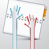 Paper Hands with Notebook Vector Royalty Free Stock Photography