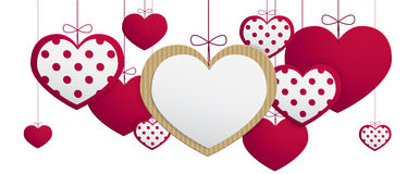 Paper hanging hearts Stock Photography