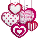 Paper hanging hearts Royalty Free Stock Photos