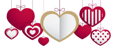 Paper hanging hearts Stock Image
