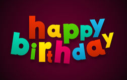 Paper happy birthday colorful sign. Royalty Free Stock Photos