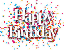 Paper happy birthday confetti sign. Royalty Free Stock Photos