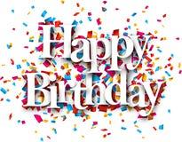 Paper happy birthday confetti sign. vector illustration